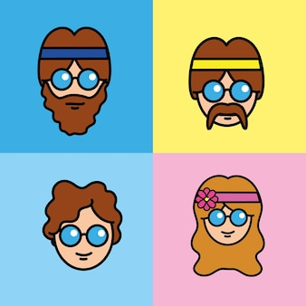 Set people hippie with hairstyle and glasses