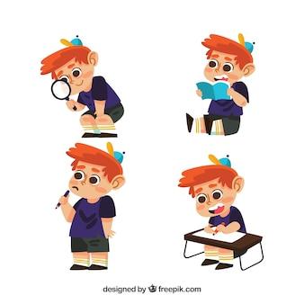 Set de personaje de niño aprendiendo