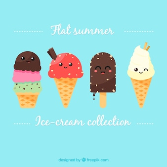 Set de personajes adorables de helado