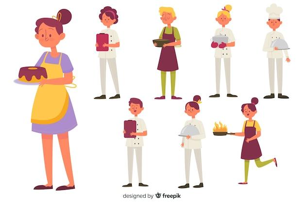 Set de personajes cocinando