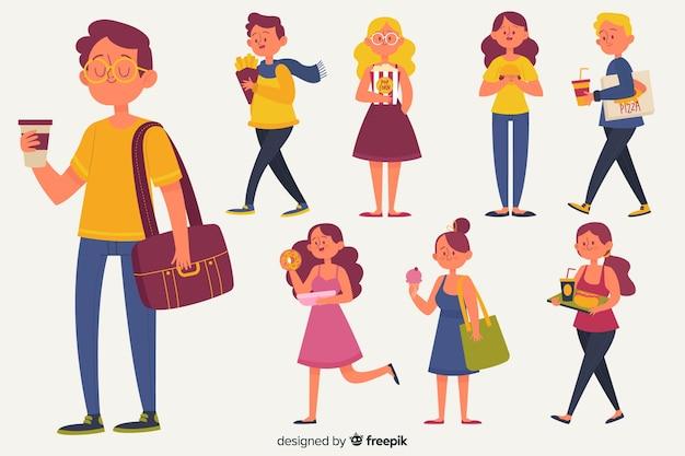 Set de personajes con comida