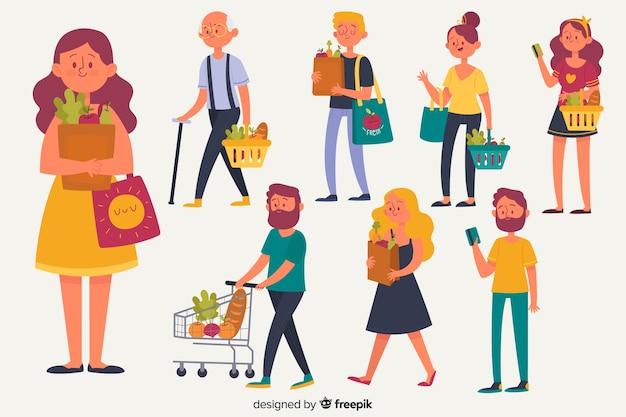 Set de personajes comprando comida