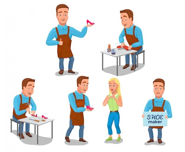Set de personajes de dibujos animados de zapatero con herramientas de zapatero