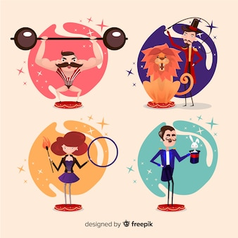 Set de personajes disfrazados en carnaval