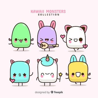 Set de personajes en estilo kawaii