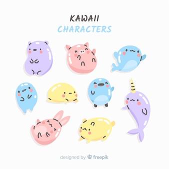 Set de personajes de estilo kawaii