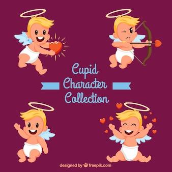Set de personajes graciosos de cupido