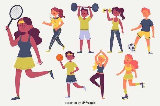 Set de personajes haciendo deporte