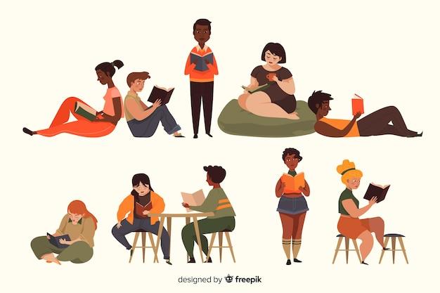 Set de personajes leyendo