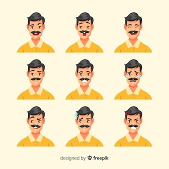 Set de personajes mostrando emociones