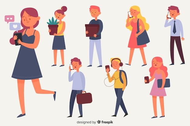 Set de personajes con móviles