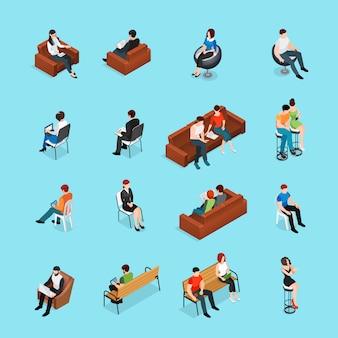 Set de personajes de personas sentadas