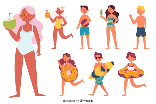 Set de personajes en la playa