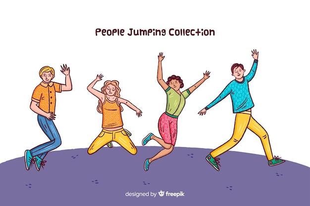 Set de personajes saltando