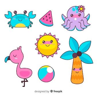 Set de personajes veraniegos de estilo kawaii