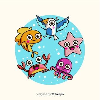 Set de personajes veraniegos en estilo kawaii