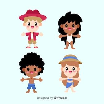 Set personajes de verano kawaii