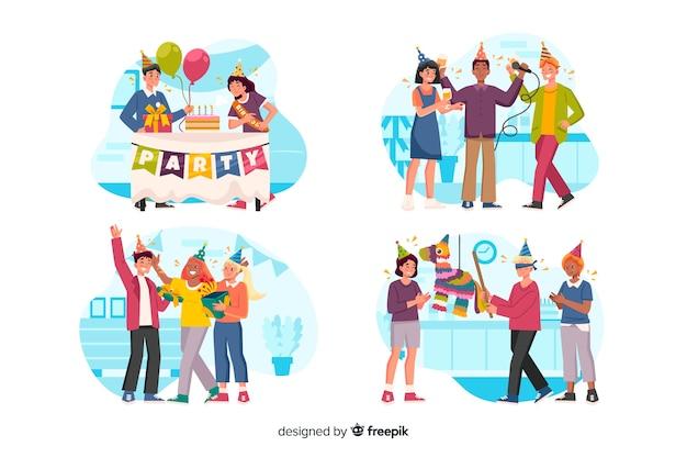Set de personas celebrando un cumpleaños