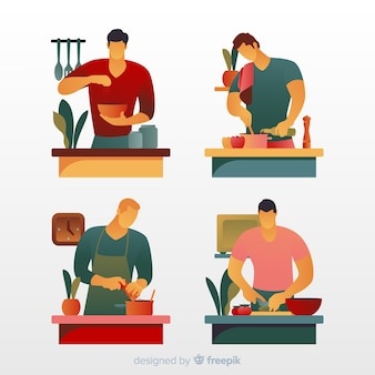 Set de personas en la cocina