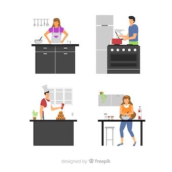Set de personas cocinando en la cocina