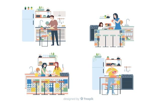 Set de personas cocinando