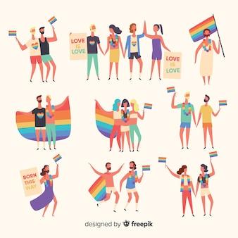 Set de personas dibujadas en el día del orgullo
