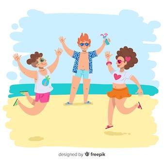 Set de personas dibujadas disfrutando del verano