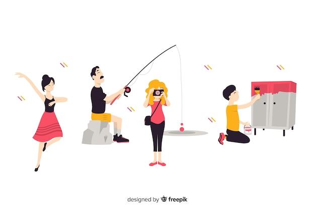 Set de personas disfrutando de su hobby