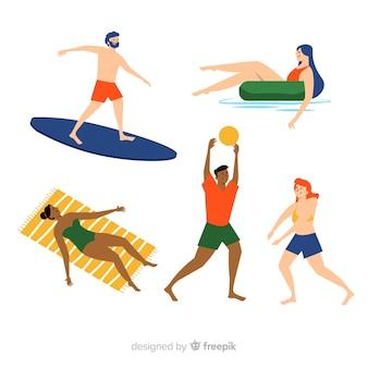 Set de personas disfrutando del verano