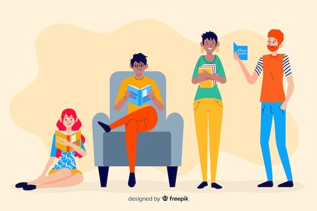 Set de personas jóvenes leyendo un libro