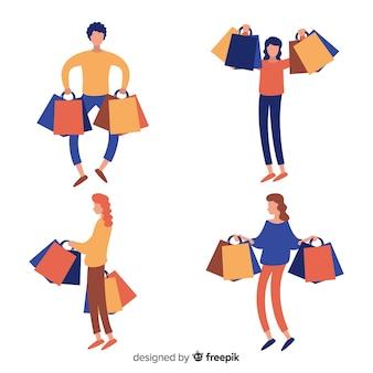 Set de personas llevando bolsas de la compra
