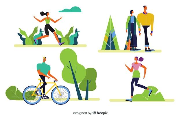Set de personas realizando actividades al aire libre