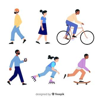 Set de personas realizando actividades