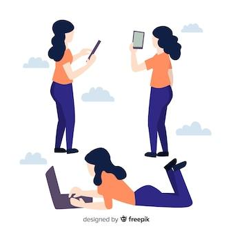 Set de personas usando aparatos tecnológicos