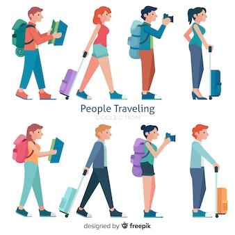 Set de personas viajando