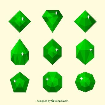 Set de piedras preciosas en tonos verdes
