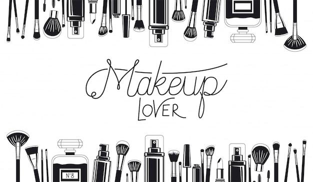 Set de pinceles de maquillaje y cuadro de productos.