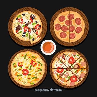 Set pizzas deliciosas dibujadas a mano