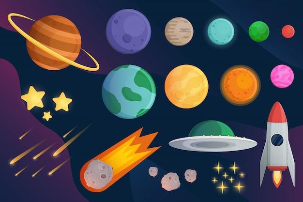 Set planeta con nave espacial o cohete y fondo galaxia