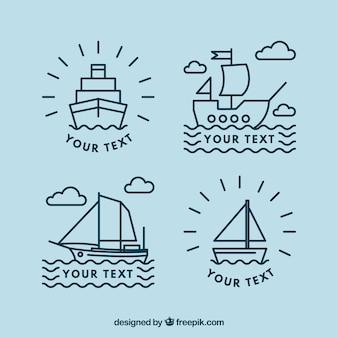 Set plano de cuatro logos de barcos lineales