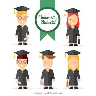 Set plano de estudiantes universitarios graduándose