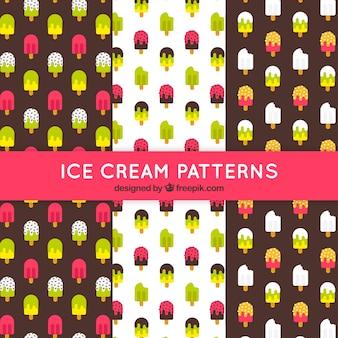 Set plano de patrones decorativos con helados de colores