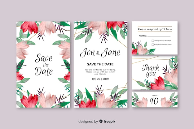 Set de plantillas en acuarela de papeles y sobres para bodas
