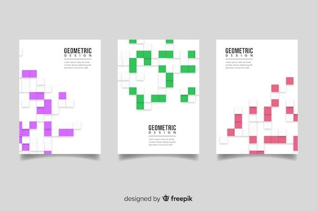 Set de plantillas para diseño de portadas, estilo geométrico