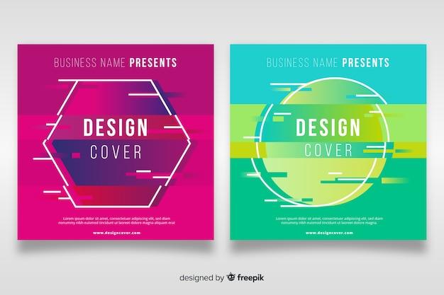 Set de plantillas para diseño de portadas, estilo glitch