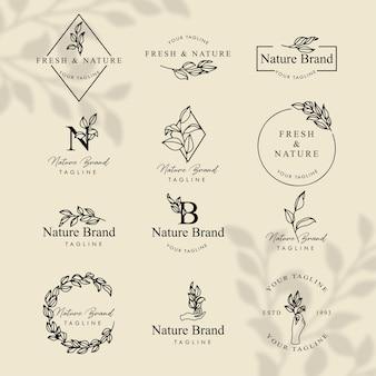 Set de plantillas editables de logotipo de arte de línea floral femenina