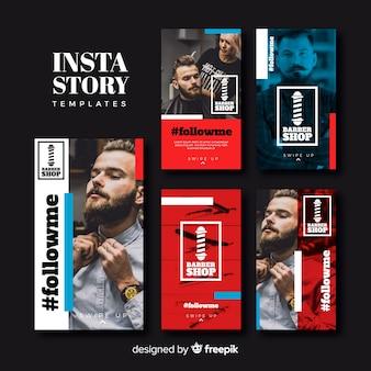 Set de plantillas de historias de instagram de barbería