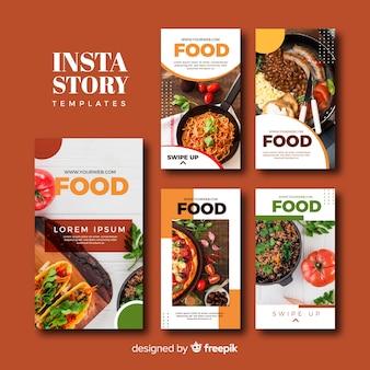 Set de plantillas de historias de instagram de comida