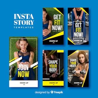 Set de plantillas de historias de instagram de deporte