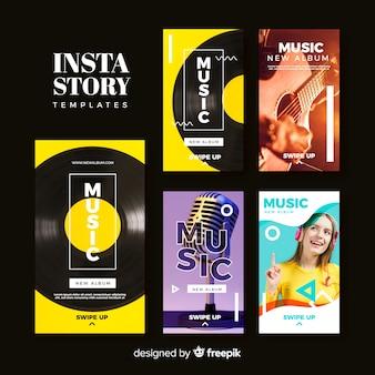 Set de plantillas de historias de instagram de música